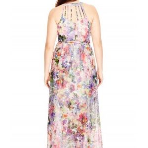 City Chic Dresses - Floral Burst Halter Neck Maxi Dress